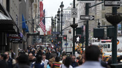 People Walking Going to Work in the Cloudy Morning, Crowd of Commuters Commuting Stock Footage