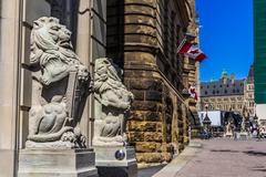 Lion statues on Parliament hill Stock Photos