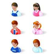 people icons - child and teenage - stock illustration