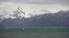 Sport Fishing Boat Splashing through Waves on Kachemak Bay Stock Footage