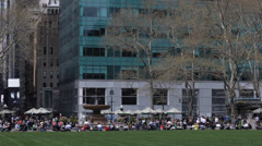 Business Corporate People enjoying Lunch Break in One Bryant Park, NYC, NY, Busy Stock Footage