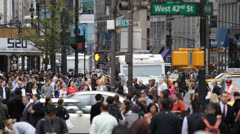 NYC Busy Street Traffic, Crowd Pedestrian People Crossing Street New York City Stock Footage
