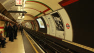 Stock Video Footage of Underground tube arrives, London (1)