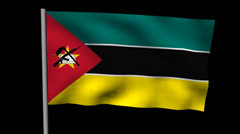 Zooming out from pyramid of men with rippling Mozambique flag animation Stock Footage