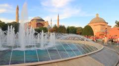 Hagia Sophia, pan over the pool Stock Footage