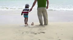 Father and son find beautiful seashell on the beach HD Stock Footage