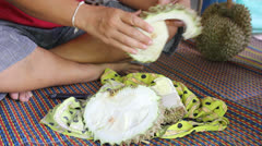Cutting Durian Stock Footage
