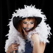 Halloween face art on black background Stock Photos