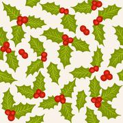 holly seamless pattern - stock illustration