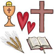 set of religious symbols - stock illustration