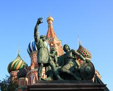 Blessed basil cathedral and statue of minin and pozharsky in moscow Stock Photos