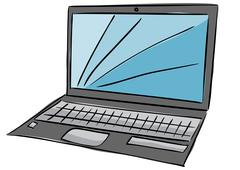 Illustration of laptop with blue screen Stock Illustration