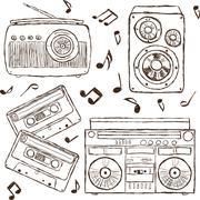 collection of retro music hand-drawn illustration - stock illustration