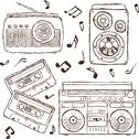 Stock Illustration of collection of retro music hand-drawn illustration