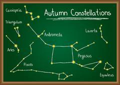 autumn constellations on chalkboard - stock illustration
