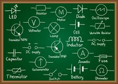 electrical circuit symbols on chalkboard - stock illustration