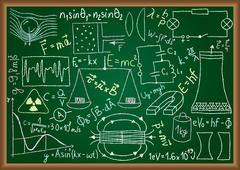 Physical doodles and equations on chalkboard Stock Illustration