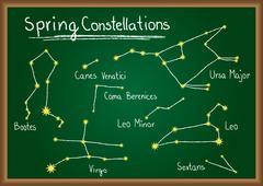 spring constellations on chalkboard - stock illustration