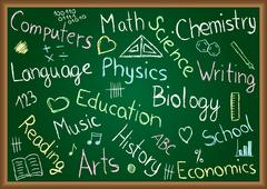 school subjects and doodles on chalkboard - stock illustration
