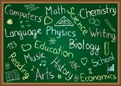 Stock Illustration of school subjects and doodles on chalkboard