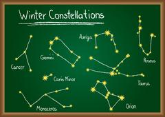 winter constellations on chalkboard - stock illustration