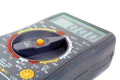 Modern digital multimeter on a white background Stock Photos