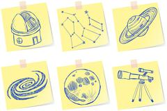 astronomy and observatory sketches - stock illustration