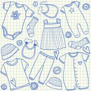 baby clothes doodles - stock illustration