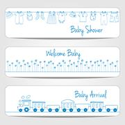 Baby shower banners Stock Illustration