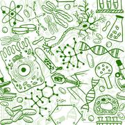 biology seamless pattern - stock illustration