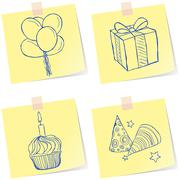Birthday party sketches Stock Illustration