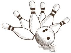 bowling pins and ball - stock illustration
