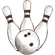 bowling pins and ball - stock illustration