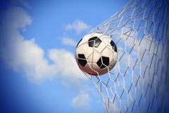 Soccer ball shoot to goal Stock Photos