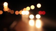 Night city bokeh traffic lights 4 - stock footage
