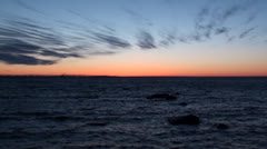 Waves on Sea and Sunset - stock footage