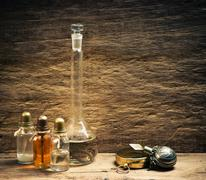 Vials of perfume oils in fragrance lab Stock Photos