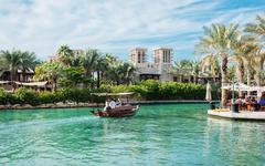 views of madinat jumeirah hotel - stock photo