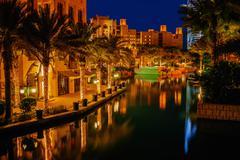 Night view of madinat jumeirah hotel Stock Photos