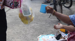 Poor girl begging for money Stock Footage