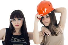 Couple of women workers isolated on a over white background Stock Photos