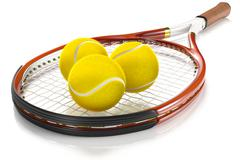 Tennis Racket with Tennis Balls - stock illustration