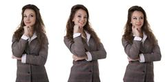 beautiful businesswoman in suite isolated on white - stock photo