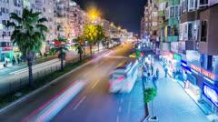 Timelapse of night city traffic in Antalya, Turkey Stock Footage