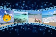 3d film strip with nice pictures of andaman scene Stock Illustration
