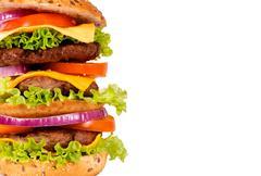 triple hamburger half - stock photo
