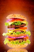triple hamburger - stock photo