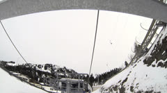 Ski lift front view Stock Footage
