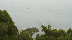 Boats on the sea in the fog Stock Footage