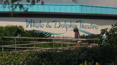 Family Entering the Whale & Dolphin Theatre at Seaworld Stock Footage